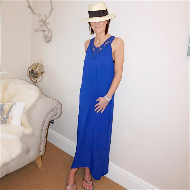 My Midlife Fashion, HM Straw Panama, Coco Bay pia Rossini blue casablanca maxi dress, havaianas slim flip flops in grey silver