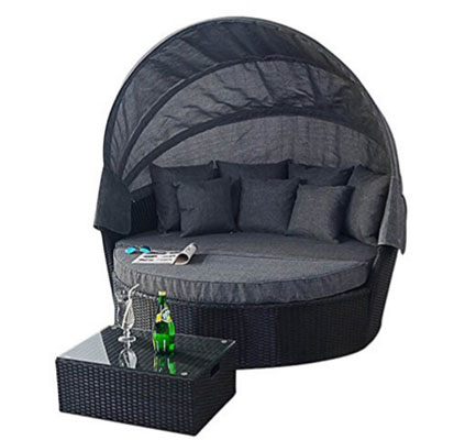 Port Royal Large Prestige Rattan Garden Furniture Daybed Sun Lounger - Black, Round Outdoor Daybeds UK, Outdoor Daybeds UK, Daybeds UK, Outdoor Daybeds at Amazon.co.uk, Amazon.co.uk, Best Outdoor Daybeds, Outdoor Furniture, Quality Outdoor Daybeds,