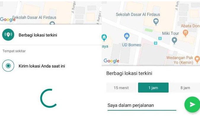 Tutorial Berbagi Lokasi secara Real Time lewat WhatsApp