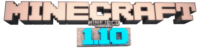 Logo do Minecraft escrito: Minecraft 1.10, Feito por: DUELS133/MineJogo.com.br