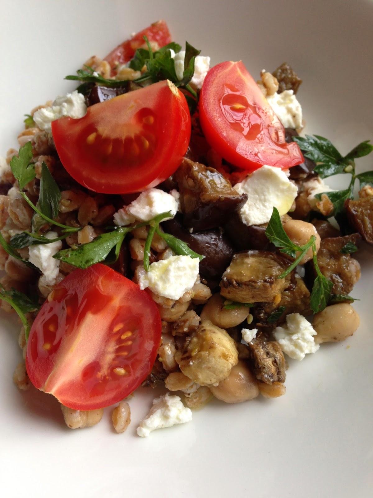 Farro, Chickpea, and Roasted Eggplant Salad