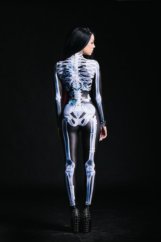 Skeleton Print Halloween Jumpsuit + Studded Boots