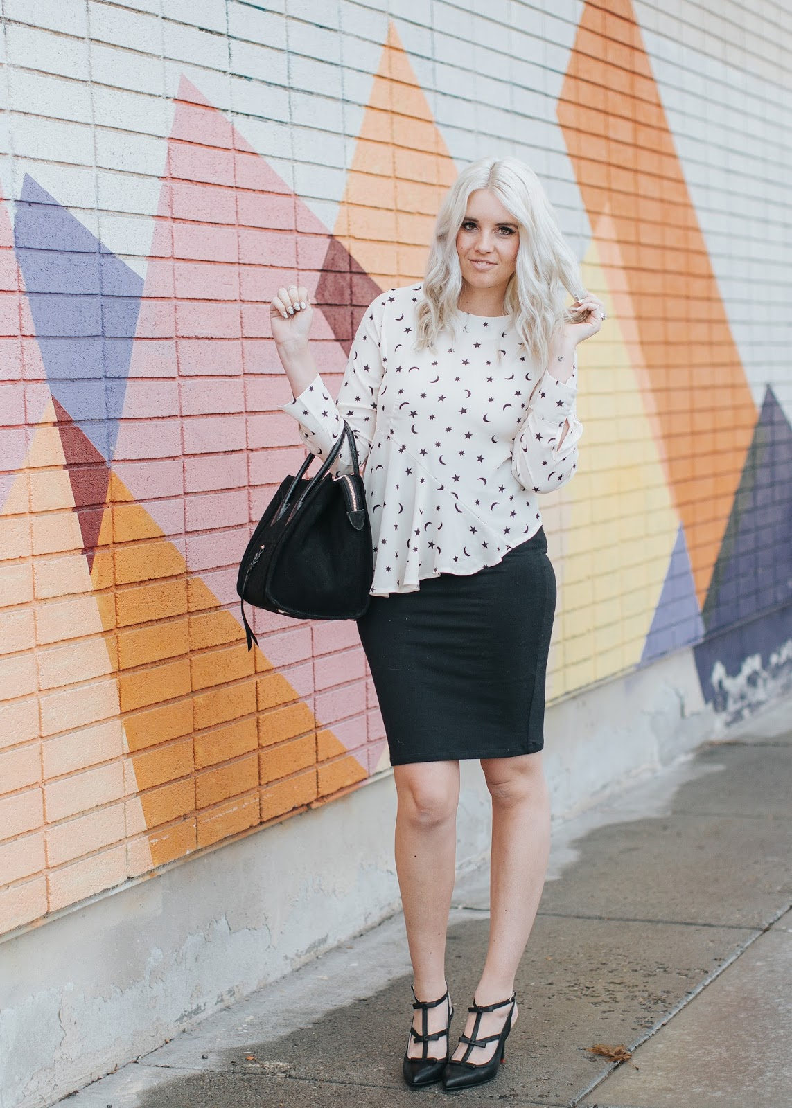 Peplum Top, Black Pencil Skirt, Sunday Style
