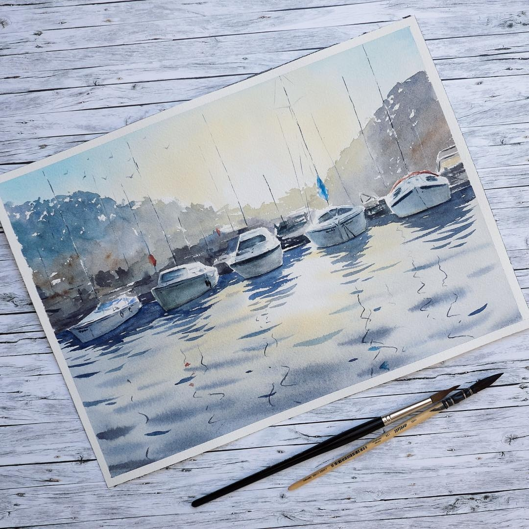 03-Lulebedeva-Любовь-Realistic-Paintings-Depicting-Water-Reflections-www-designstack-co
