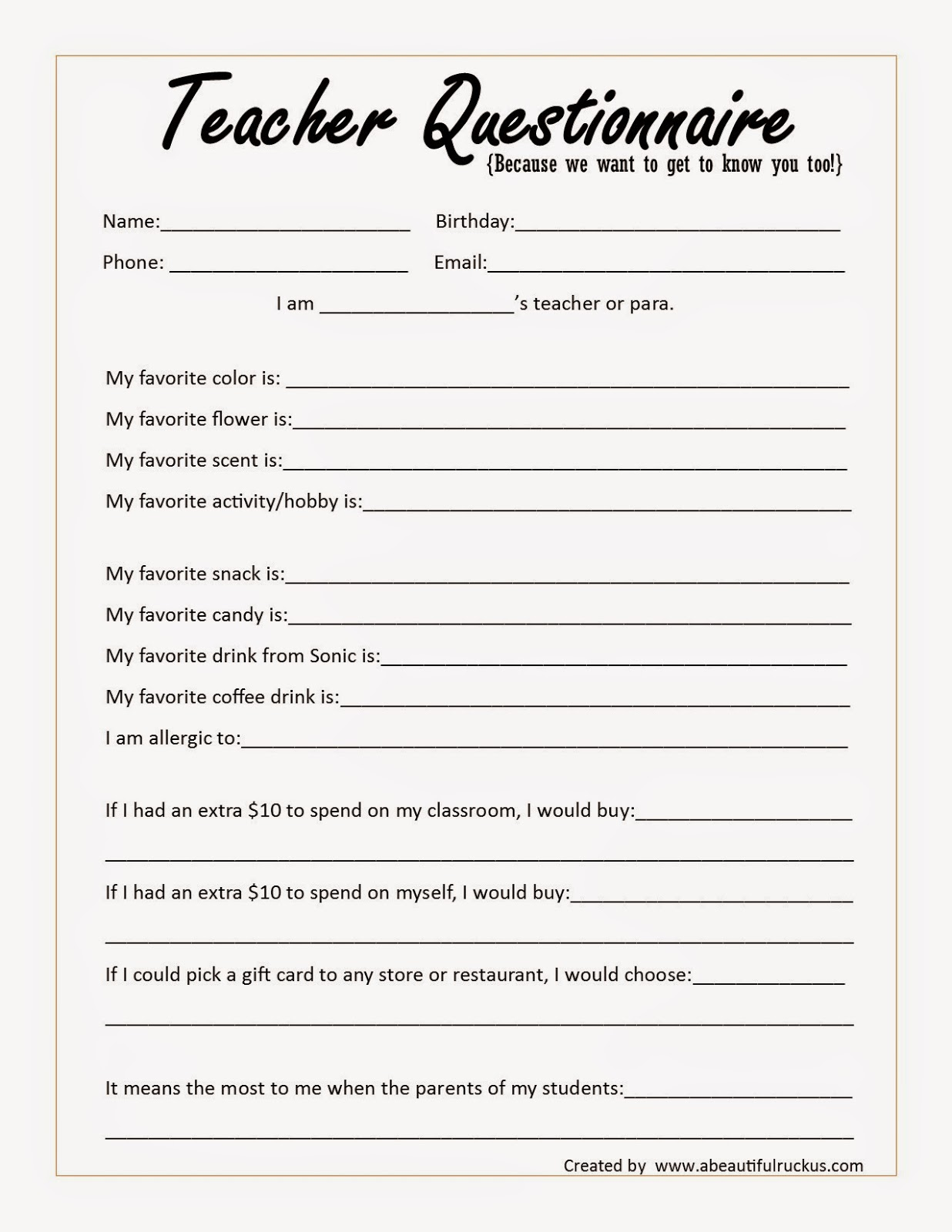 Teacher Appreciation Survey Questions