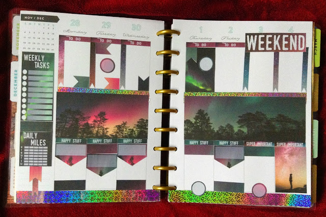 The stickers from the above sheet in use on a Happy Planner. The focal stickers run along the central row of the three-row layout, while to-do list tags and accent boxes appear in the rows above and below them.