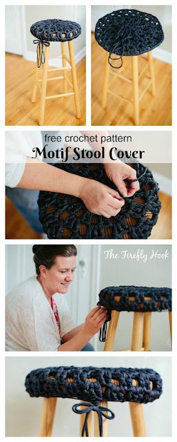 Motif Stool Cover - Free Crochet Pattern