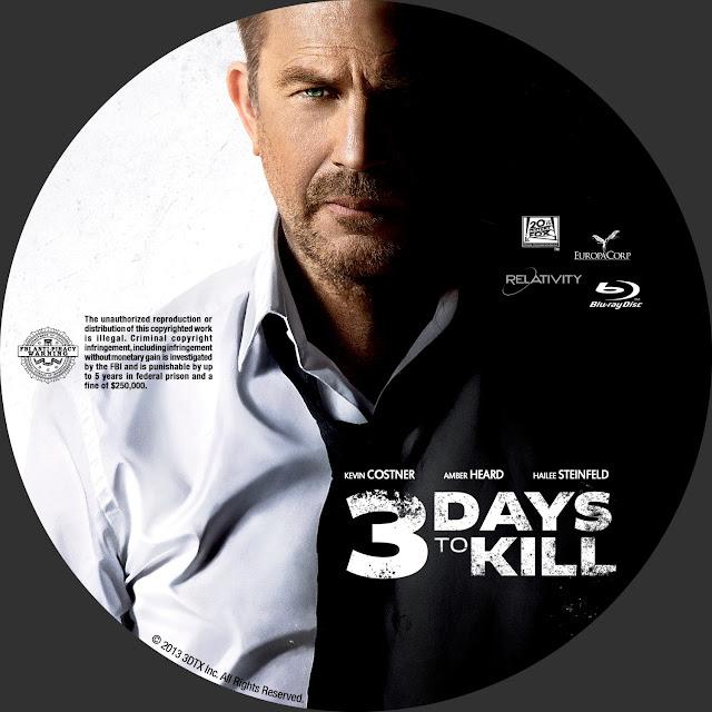 3 Days To Kill Bluray Label