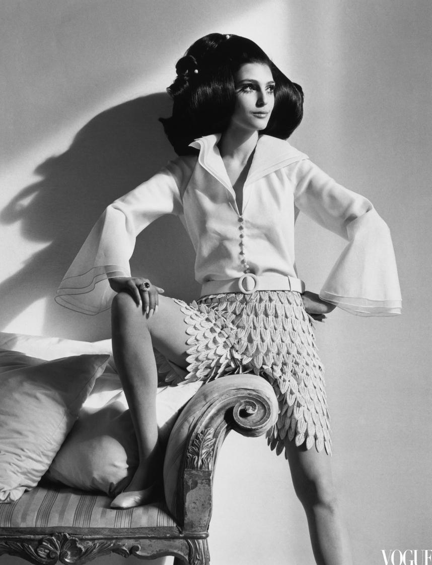 Bendetta Barzini wearing Mila Schon photographed by Henry Clarke for Vogue US March 1968