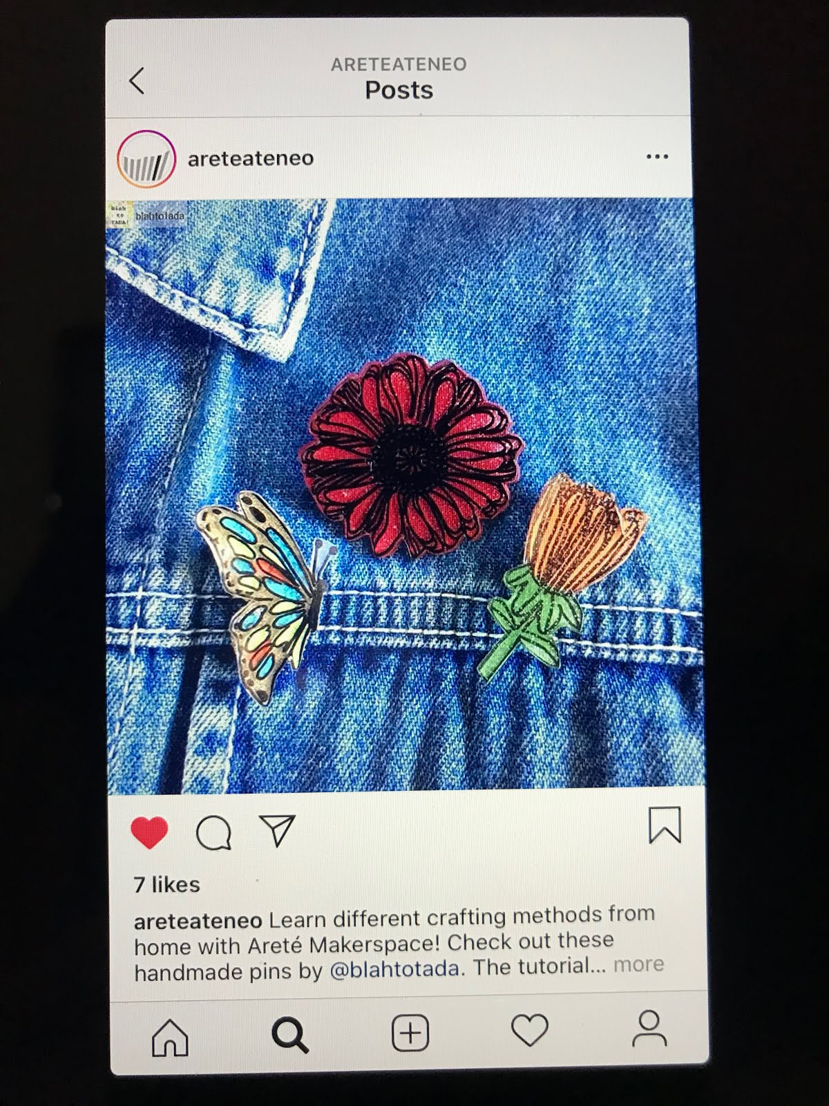 My Shrinky Dinks flower and butterfly pins are on the Arete Ateneo Instagram feed!