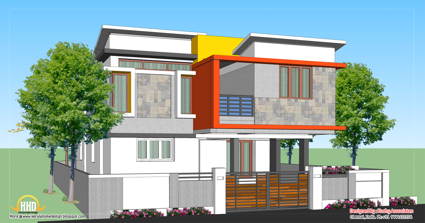 Modern home design 1809 sq ft kerala home design and for Modern 2 floor house design