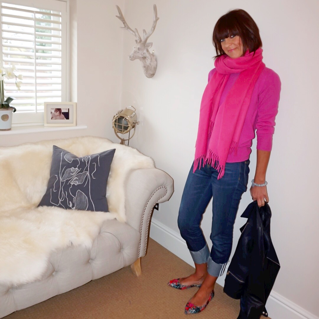 My Midlife fashion, and other stories pure wool oversized scarf, marks and spencer pure cashmere crew neck jumper, hush turn up boyfriend jeans, j crew tweed pointed tassel flats, massimo dutti leather biker jacket