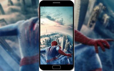 Spider Man au Dessus de New York - Fond d'Écran en QHD pour Mobile