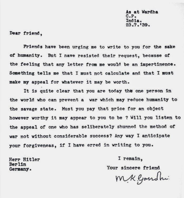 Connu ARTICLE / Lettre de Gandhi à Hitler, empêcher Seconde Guerre  KA54