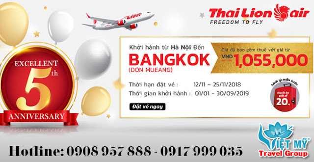 Thai Lion Air khuyến mãi sinh nhật lần thứ 5