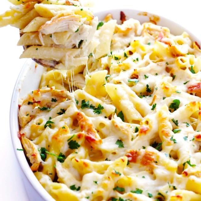 Chicken Alfredo Baked Ziti #pasta #dinner
