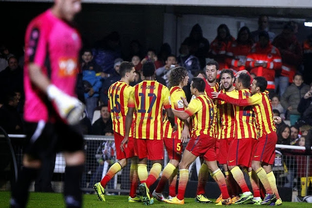 FC Barcelona Players Celebrating against FC Cartagena