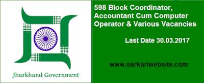 Block Coordinator, Accountant cum Computer Operator & Various Vacancies