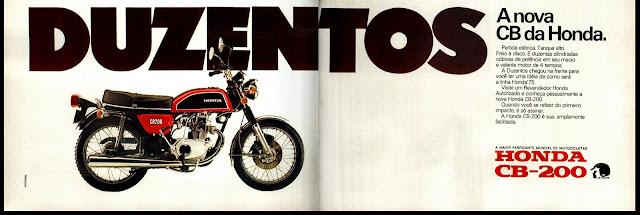 Moto Honda CB 200, anos 70.  brazilian advertising cars in the 70. história da década de 70; Brazil in the 70s; propaganda carros anos 70; Oswaldo Hernandez;