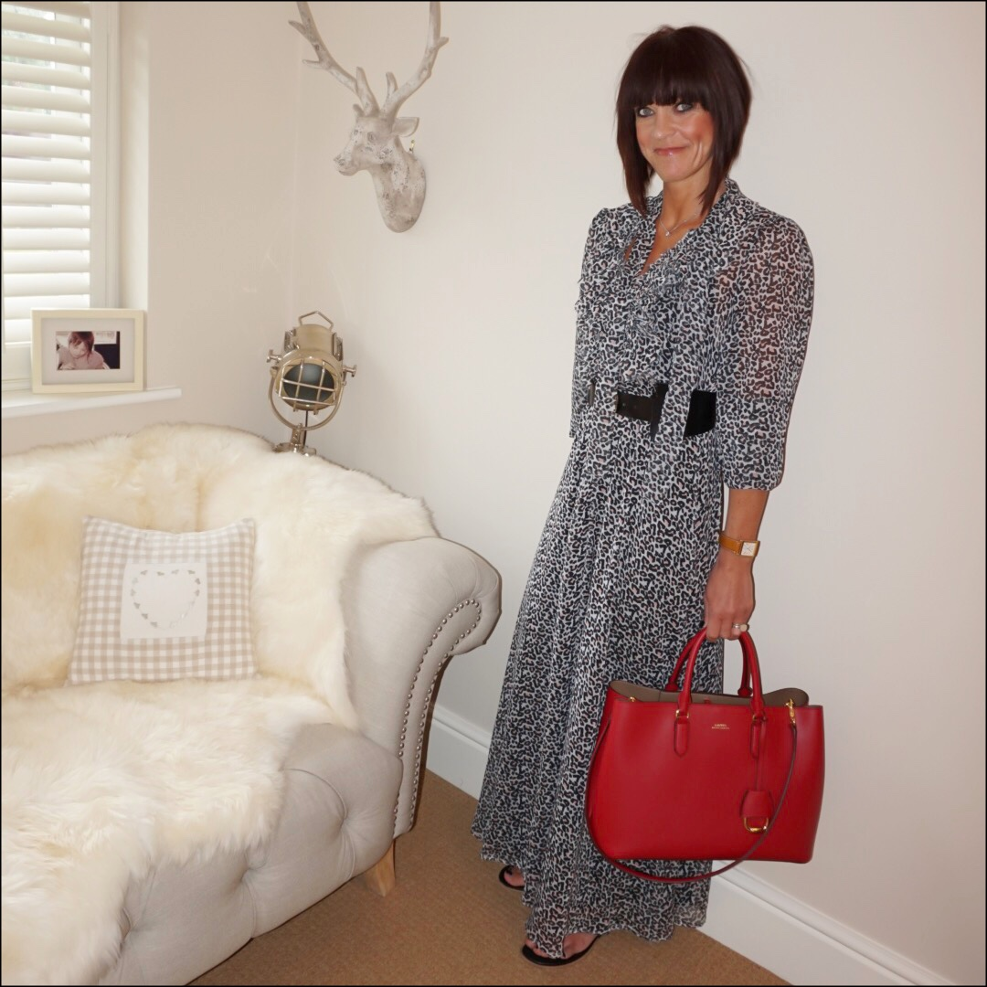my midlife fashion, lily and lionel leoaprd print ruffle maxi dress, and other stories waist buckle belt, lauren ralph lauren dryden tote, iro paris eyelet leather sandals