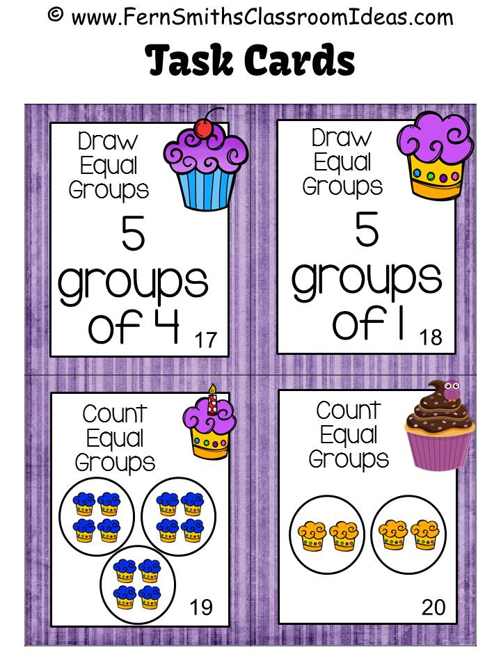 Fern Smith's Classroom Ideas Equal Groups - Four Free Task Cards with a Cute Kid and Cupcake Theme 3.OA.A.1 at TeacherspayTeachers.