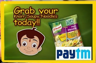 "Paytm is no.1 recharging site in india.comes with another great offer BUY KNORR SOUPY NODDLES AND GET FREE PAYTM CASH .Buy Knorr Soupy Noodles worth Rs 15 and Get Rs 15 Paytm Cash + if you are the First 10,000 users then You get a ""Chota Bheem Free Trolley Bag"" means you get free noddles .so buy the knorr soupy noddles and get free paytm cash .that bonus offer for you get noddles and free paytm cash also a chance to get chotta beem trolley free . Paytm keeps on introducing new offers,coupons for its users .so keep check out site to get latest offers"