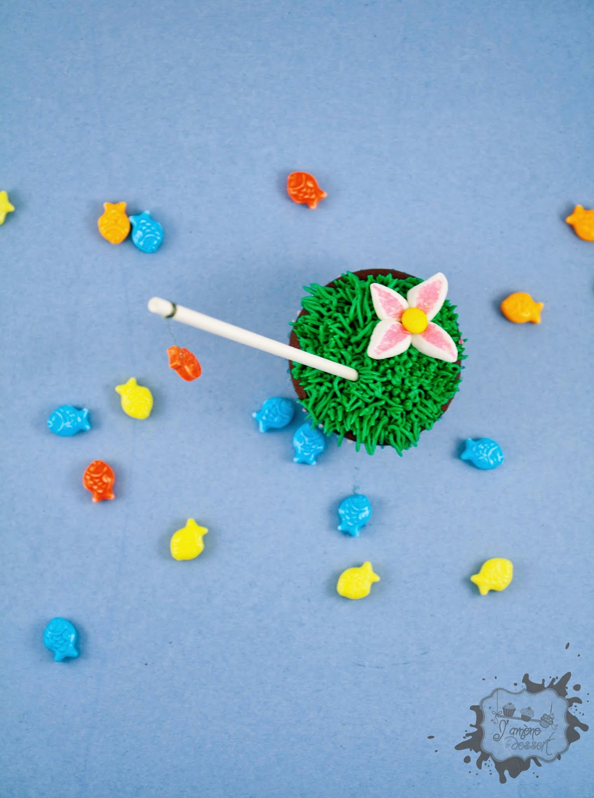 fish on cupcake
