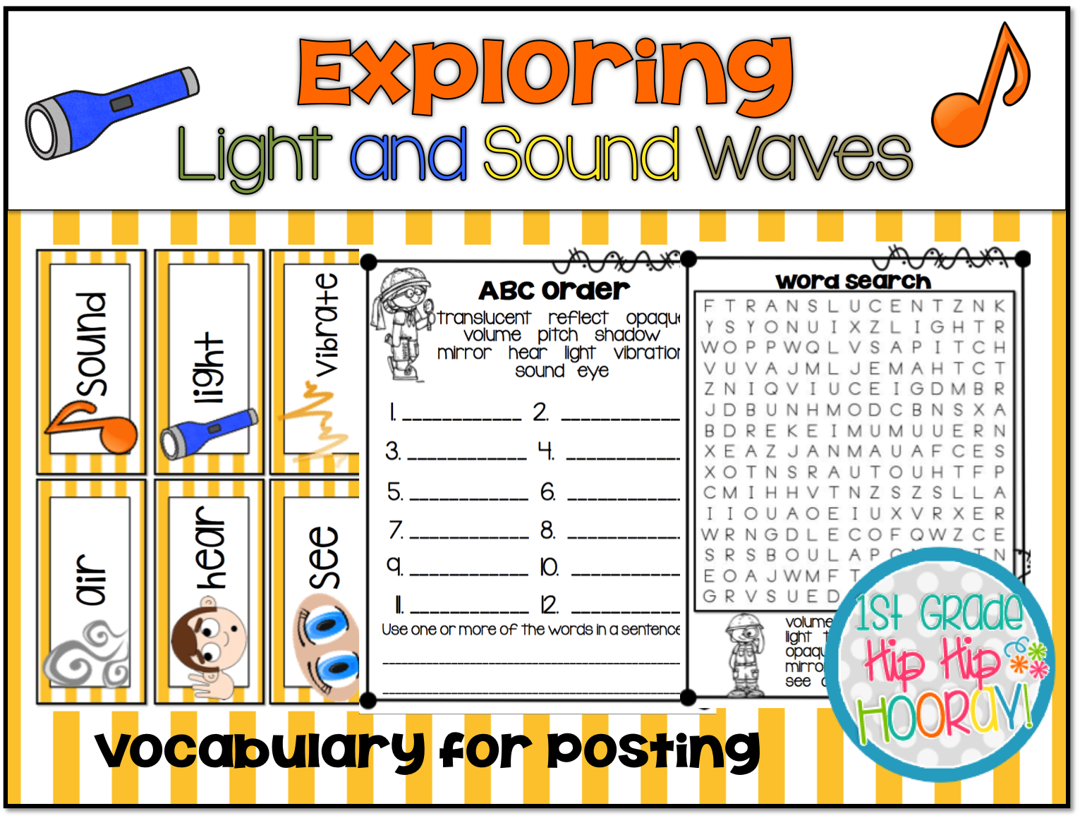 1st Grade Hip Hip Hooray Exploring Light And Sound Waves