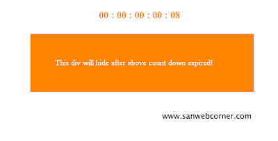Hide Div after Count down Expired using javascript