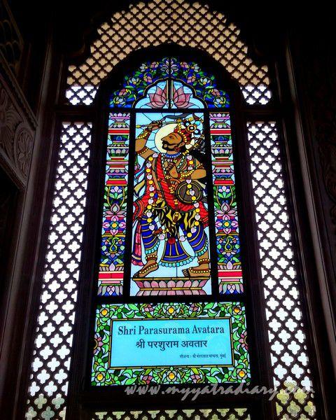 Shri Parsuram Avatar stained glass window vedic art gallery - ISKCON Jaipur, Rajasthan