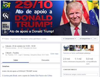 Ato em apoio a Trump na Paulista repercute positivamente nas redes sociais