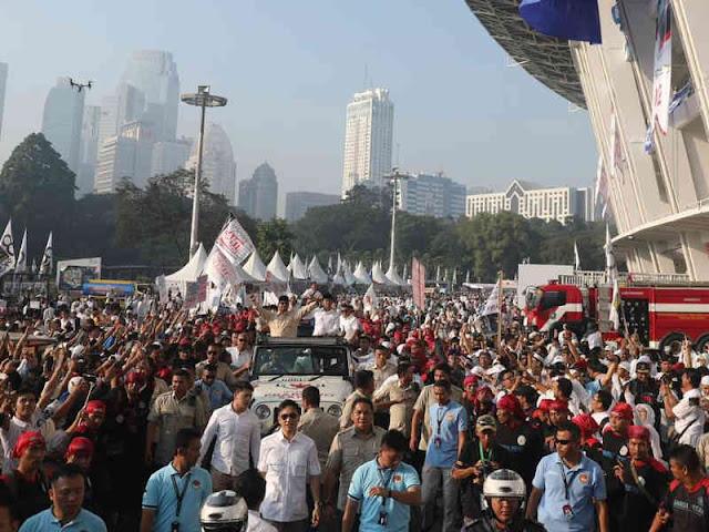Kampanye Akbar Prabowo - Sandi di Stadion Gelora Bung Karno Berjalan Baik dan Tertib