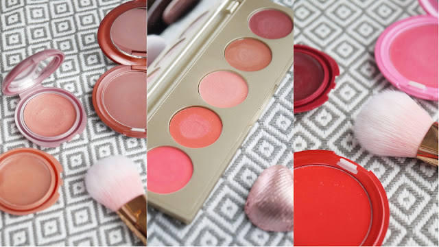 small round pots of lip and cheek cream in various colours from nude to pink and red