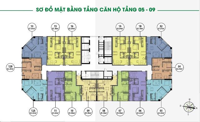 Mặt bằng thiết kế căn hộ tầng 5 - 9