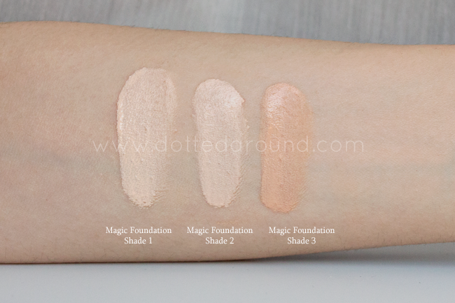 charlotte tilbury magic foundation swatch shade 1 2 3