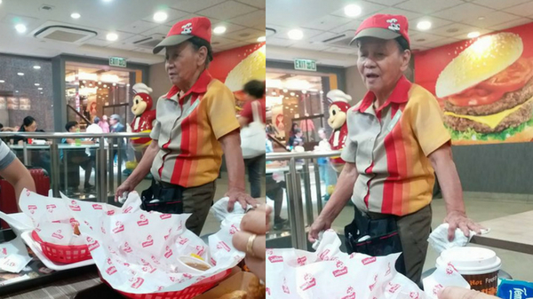 "Hardworking ""Lola"" works as fast food crew in Jollibee"