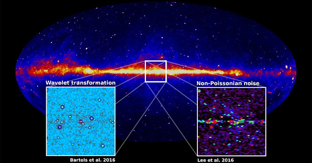 Studies by two independent groups from the U.S. and the Netherlands indicate that the observed excess of gamma rays from the inner galaxy likely comes from a new source rather than from dark matter. The best candidates are rapidly rotating neutron stars, which will be prime targets fur future searches. The Princeton University/Massachusetts Institute of Technology research group and the Netherlands-based group used two different techniques, non-Poissonian noise and wavelet transformation, respectively, to independently determine that the gamma ray signals were not due to dark matter annihilation. (Image courtesy of Christoph Weniger, University of Amsterdam)