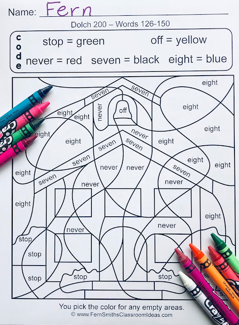 Your students will adore these TWENTY Dolch Words - Dolch 200 Color Your Answers worksheets while learning and reviewing ALL 200 words from the Dolch 200 list. Practice the Dolch Word reading skills at the same time as having some joy and fun of coloring in your classroom! You will love the no prep, print and go Color By Code Worksheets with Answer Keys Included. Bind them altogether for independent seat work, pass one out each morning for morning work / bell work. Perfect for homework that will not have confused and angry parent emails! Perfect for emergency substitute classroom work, answer keys included to help the sub. The possibilities are endless!