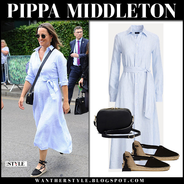 Pippa Middleton in blue striped midi shirt dress ralph lauren royal family wimbledon fashion july 11