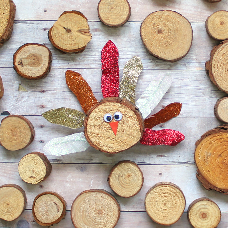 The craft patch wood slice turkey craft with washi tape for Wood slice craft projects