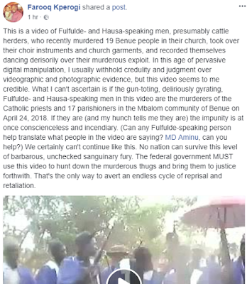 Video Of Fulani Herdsmen Who Killed Catholic Priests And 17 Parishioners, Dancing Wearing The Church's Choir Robes