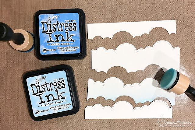 Die Cut + Distress Ink Cloud Background Tutorial by Juliana Michaels featuring Newton's Nook Designs Sky Borders Die Set