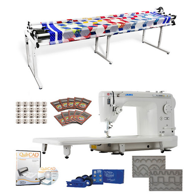 "Juki TL-2010Q 9"" Long-armMachine, Grace Continuum Quilting Frame, SureStitch Regulator, PatternTemplates, 100 Needles, 20 Bobbins, Extension Table & QuiltCAD PatternDesign Software"