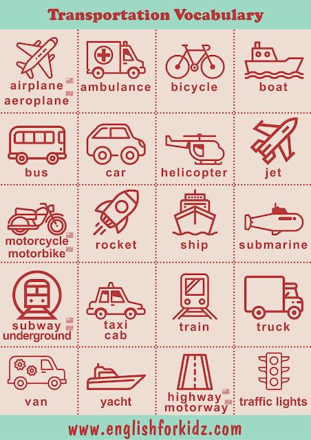 Transportation vocabulary for ESL students