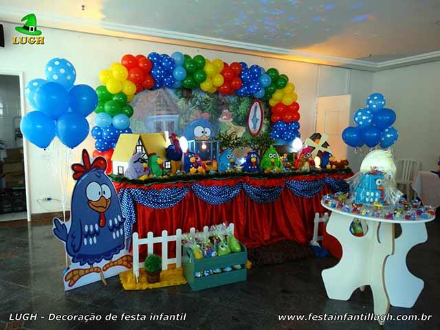 Decoração festa infantil Galinha Pintadinha - Mesa luxo decorada e forrada de pano (cetim)