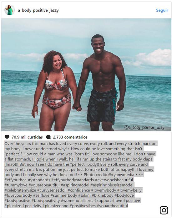 Postagem Instagram autoconfiança corpo perfeito