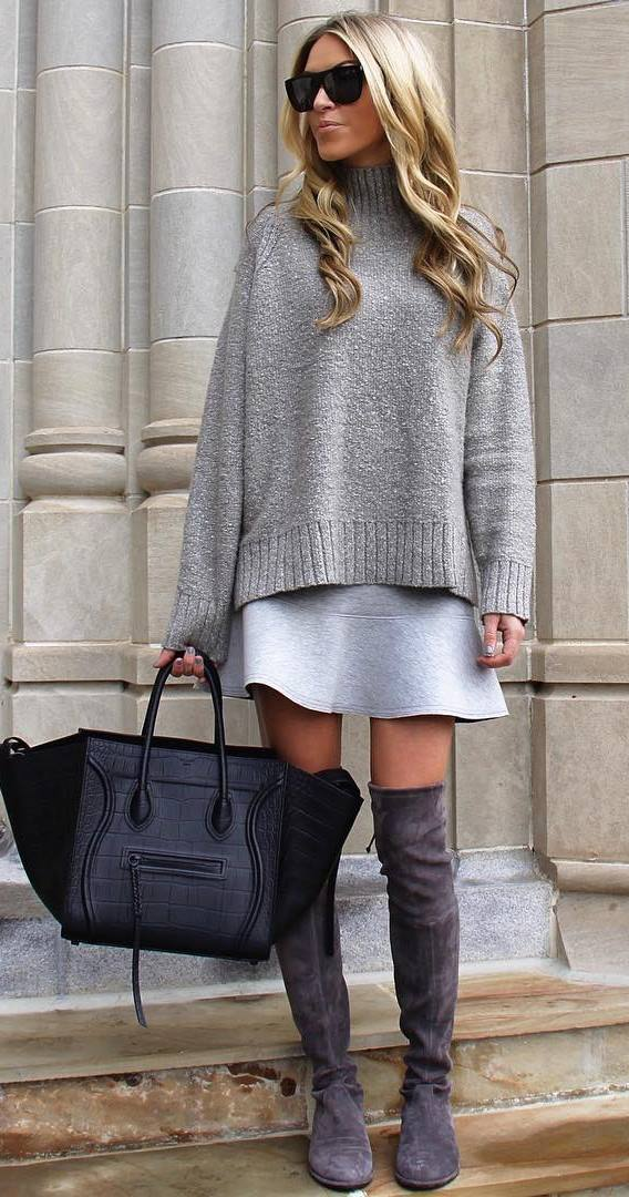 fashionable grey outfit idea