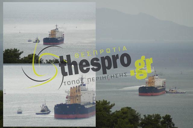 Φορτηγό πλοίο, έμφορτο με σιτάρι, προσάραξε στον κόλπο της Ηγουμενίτσας.
