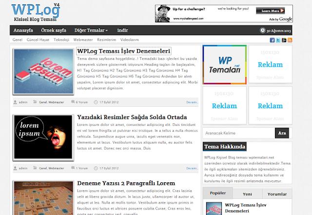WPLog Ücretsiz Kişisel Blog Teması 2017