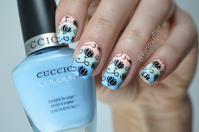 spring pastel gradient floral stamping nails meebox kawaii